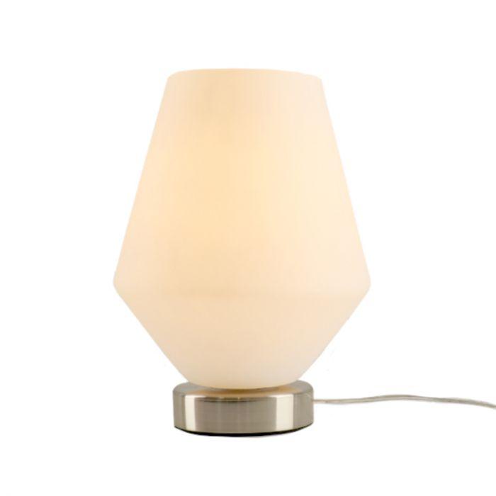 Stalen Design tafellamp Hatice met witte diamant glaskap