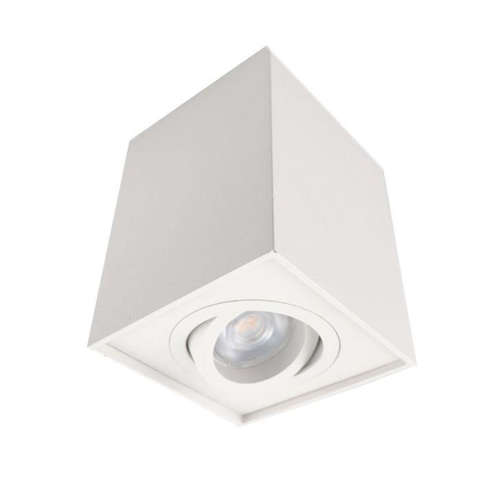 Vierkante, witte opbouwspot Dane, Richtbaar