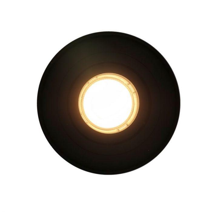 Ronde, zwarte opbouwspot Onno, Richtbaar