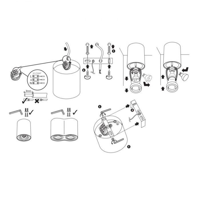 Langwerpige, witte opbouwspot Onno, 2-spots, Richtbaar