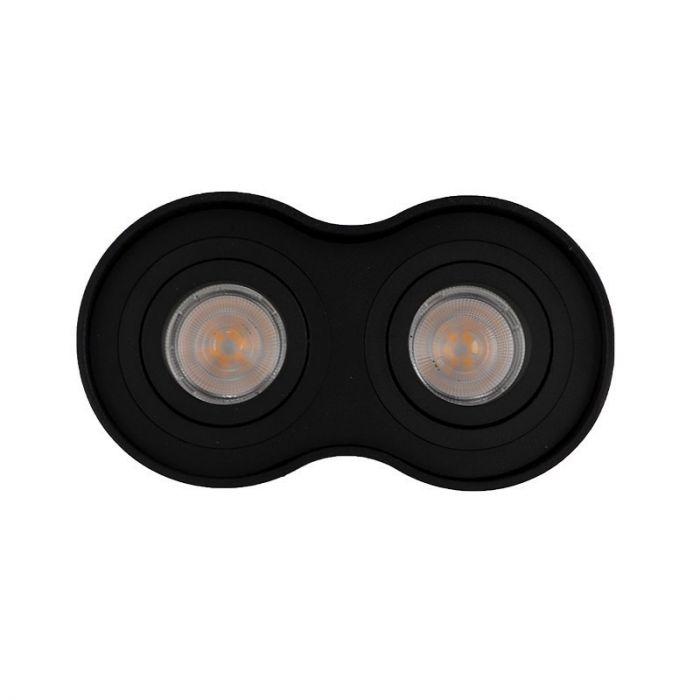 Langwerpige, zwarte opbouwspot Onno, 2-spots, Richtbaar