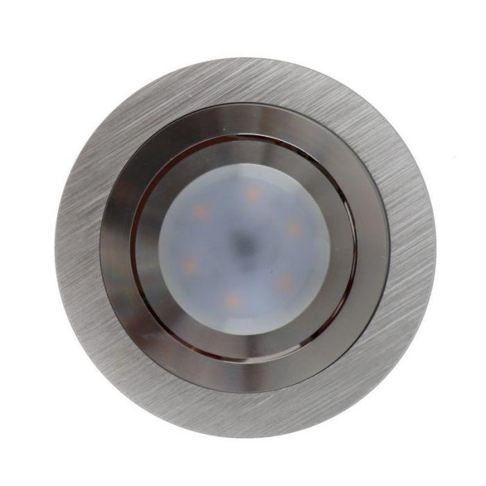 Zilvergrijze ronde inbouwspot Heido
