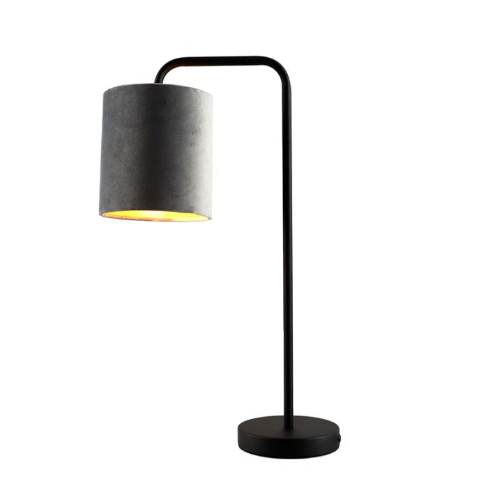 Grijs/goud velours Tafellamp Kristin, om hoek