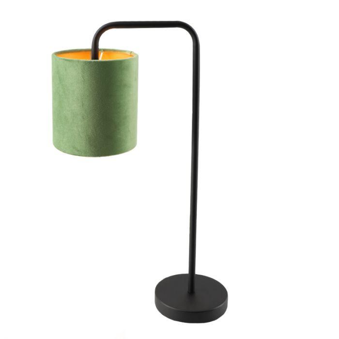 Groen/goud velours Tafellamp Kristin, om hoek