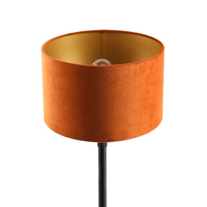 Staande vloerlamp Kristien, met oranje/goud velours kap