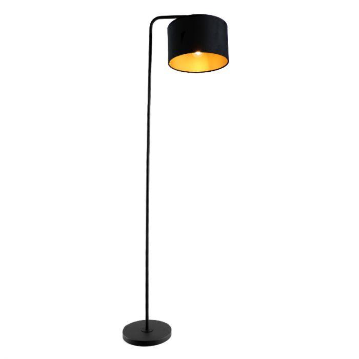 Zwart/goud velours Vloerlamp Kristina, om hoek