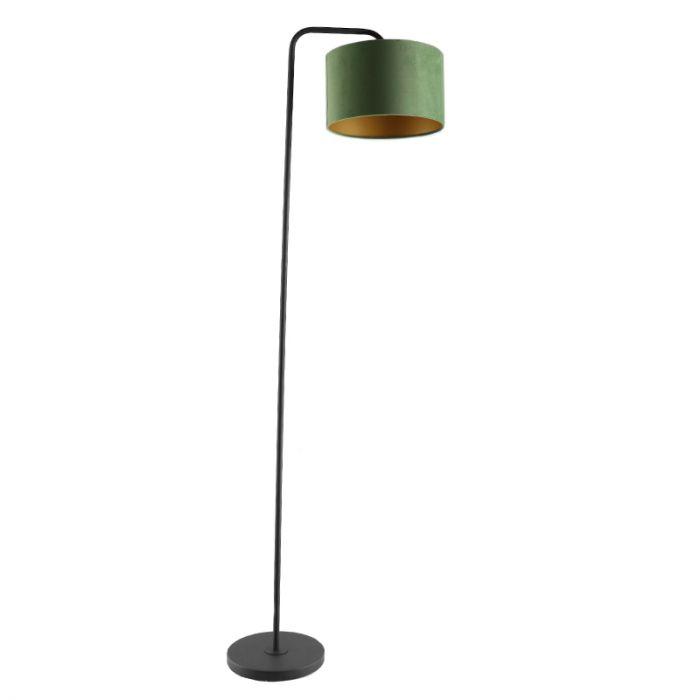 Groen/goud velours Vloerlamp Kristina, om hoek