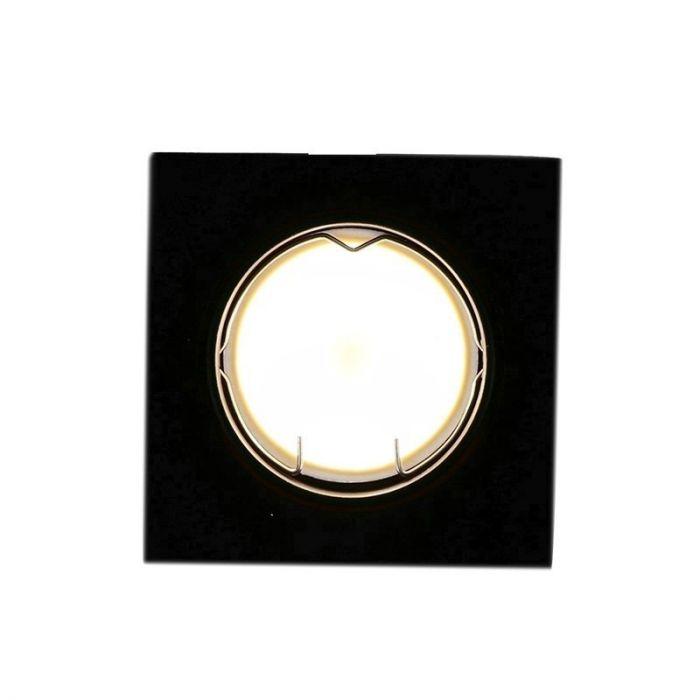 Zwarte vierkante inbouwspot Ravi, kantelbaar