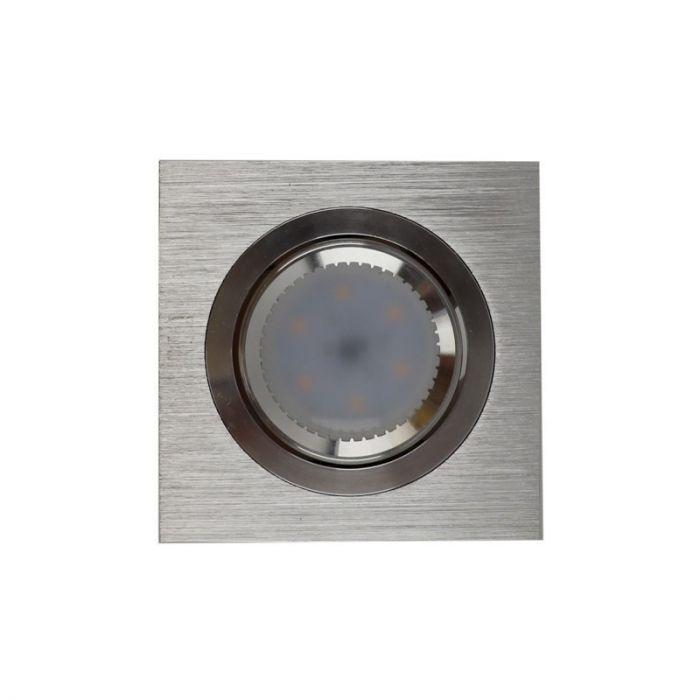 Vierkante inbouwspot Troy, aluminium