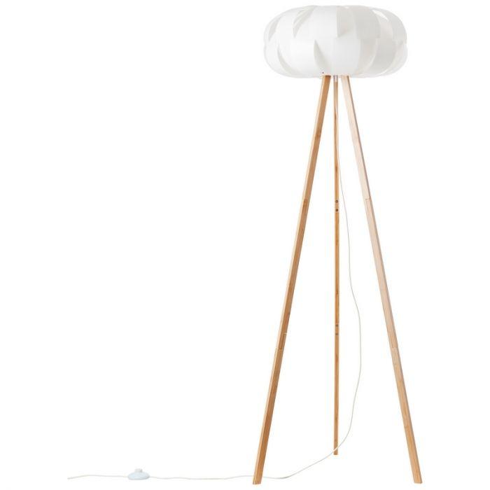 Moderne driepoot vloerlamp Jenita, Hout, met Aan/uit schakelaar op het snoer