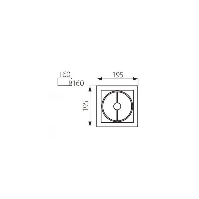 Vierkante inbouwspot Tynn, grijs