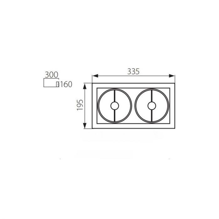 Rechthoekige inbouwspot Tynn, grijs, 2 lichtbronnen