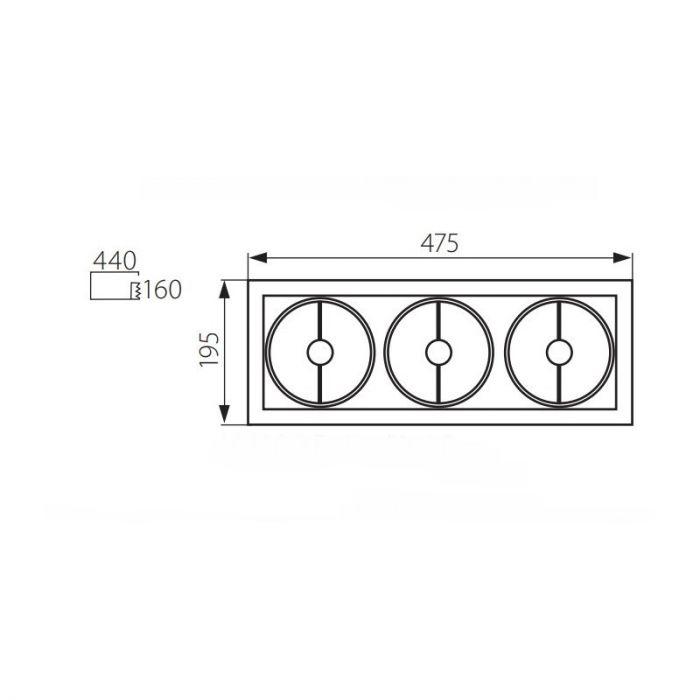 Rechthoekige inbouwspot Tynn, grijs, 3 lichtbronnen
