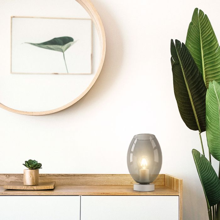 Witte glazen design tafellamp Mavis, smoke grey ovaal
