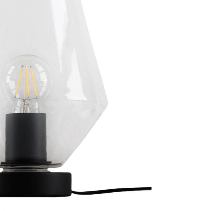 Zwarte diamant Design tafellamp Giulio, transparant glas, met touchdimmer