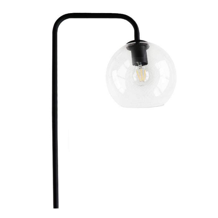 Design glazen vloerlamp met boog Nabil, transparante bol