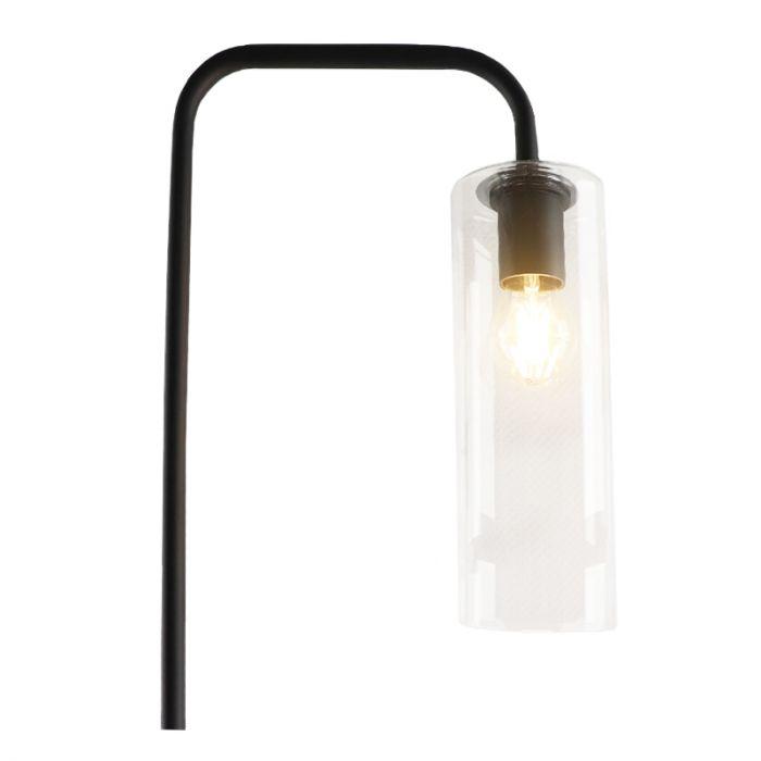 Design glazen vloerlamp met boog Nabil, transparante koker