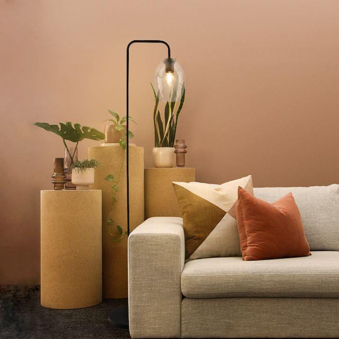 Design ovale glazen vloerlamp met boog Nabil, transparant