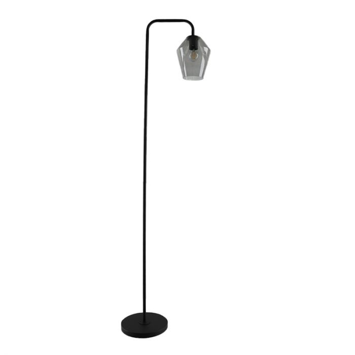 Design diamant glazen vloerlamp met boog Nabil, smoke grey