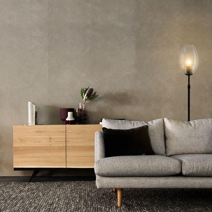 Staande design Tafellamp Myra, transparante ovaal