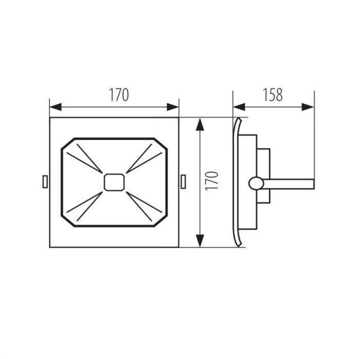20 Watt schijnwerper Roda, Grijs
