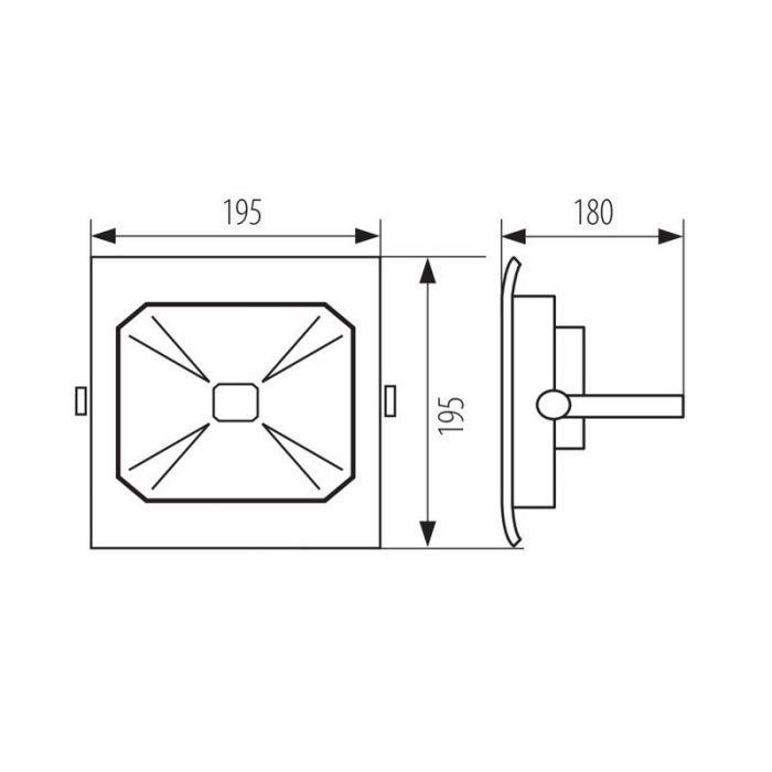 Krachtige schijnwerper Roda, grijs - 50 Watt