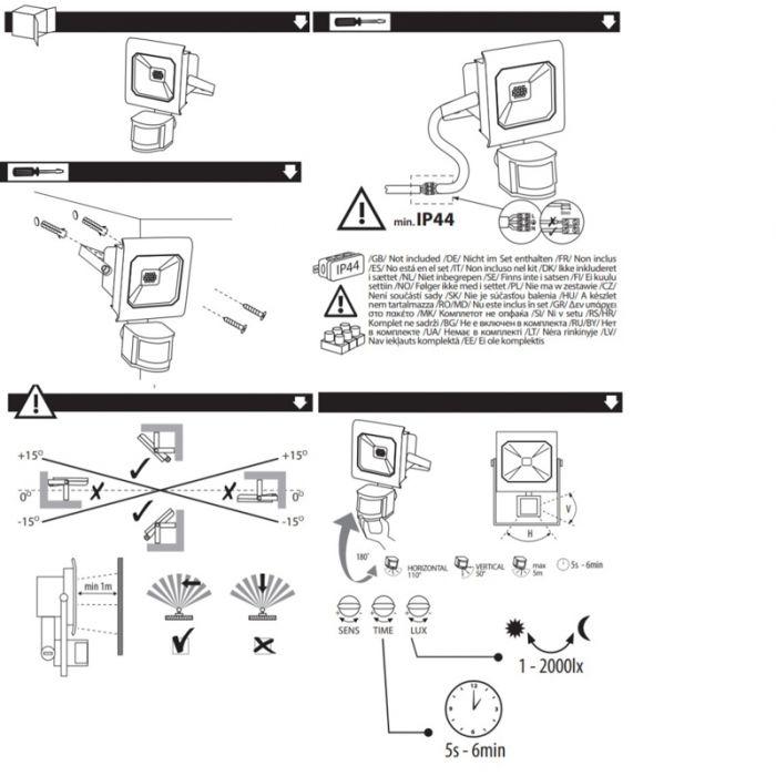 20 Watt bewegingssensor schijnwerper Robo, Zwart