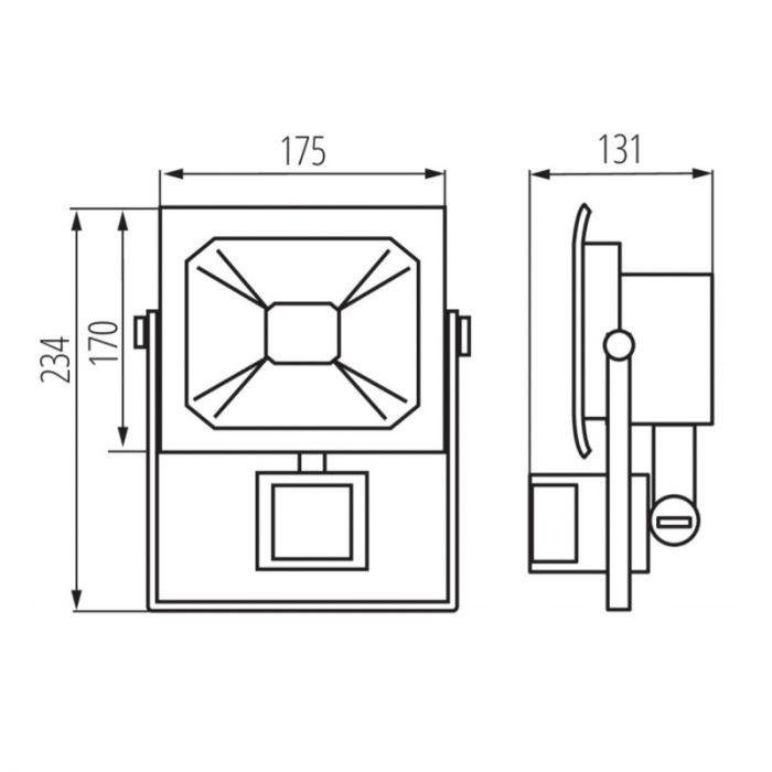 20 Watt bewegingssensor schijnwerper Robo, Grijs