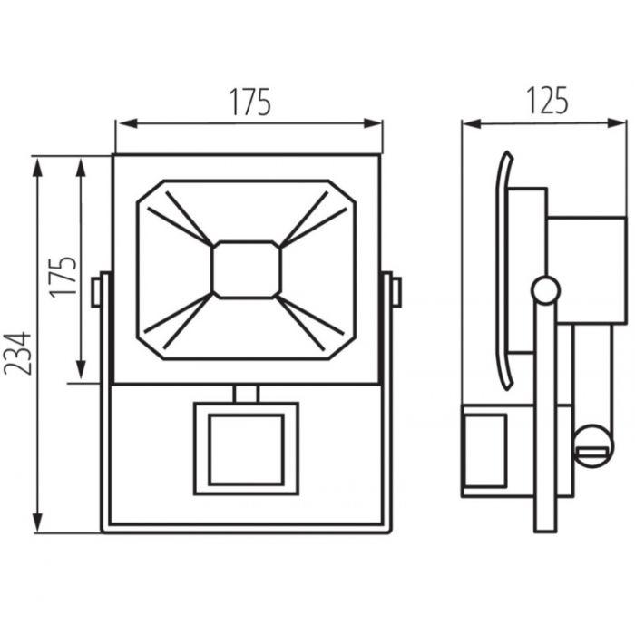 Sensor schijnwerper Robo, grijs - 30 Watt