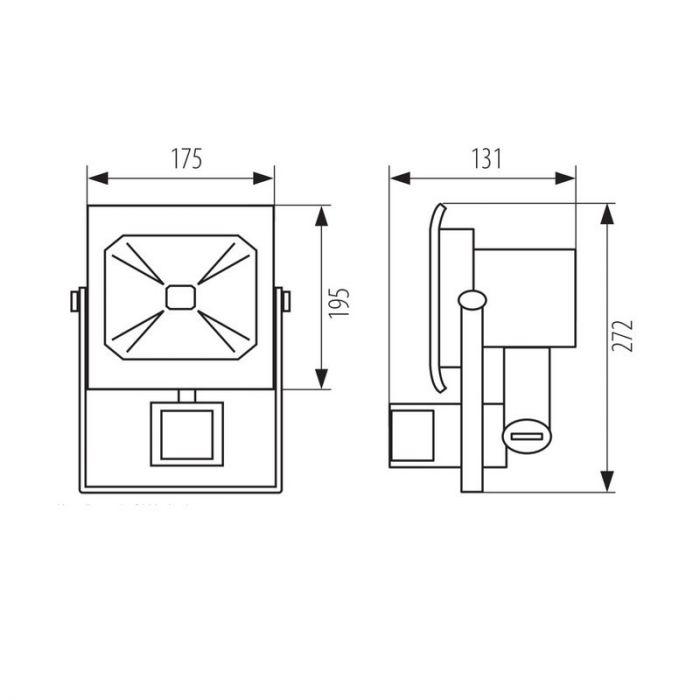 Grijze Robo schijnwerper, bewegingsmelder - 50 Watt