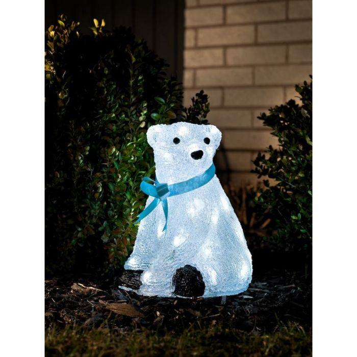 Zittende beer met blauwe strik, kerst, 28 cm hoog