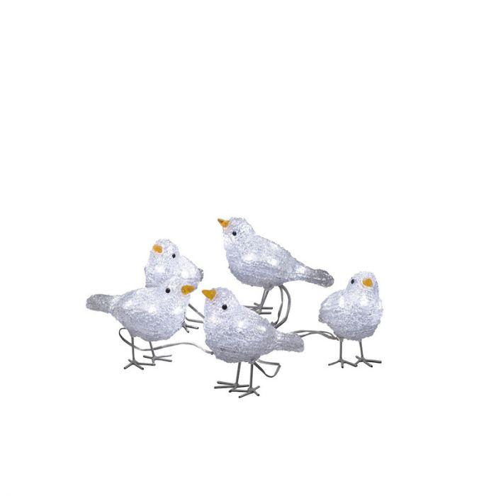 LED Vogeltjes, kerstmotieven -  Set van 5