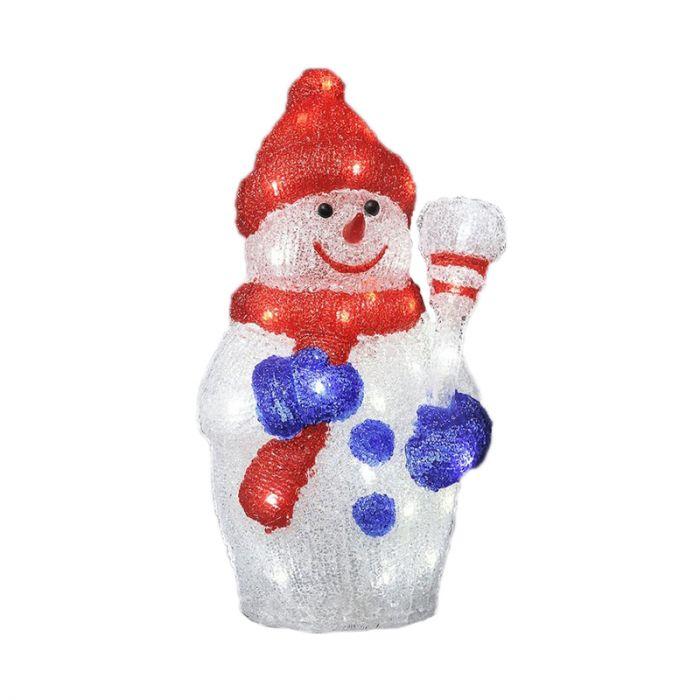 LED sneeuwpop met rode muts - 38cm