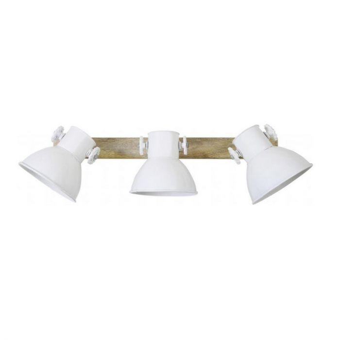 Industriële plafond-/wandspot Borani - Hout, 3 Vintage witte spots