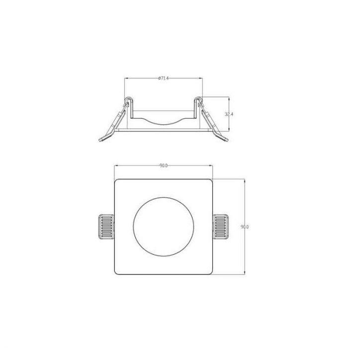 Geborsteld chroom badkamer inbouwspot Piet, Vierkant, IP64