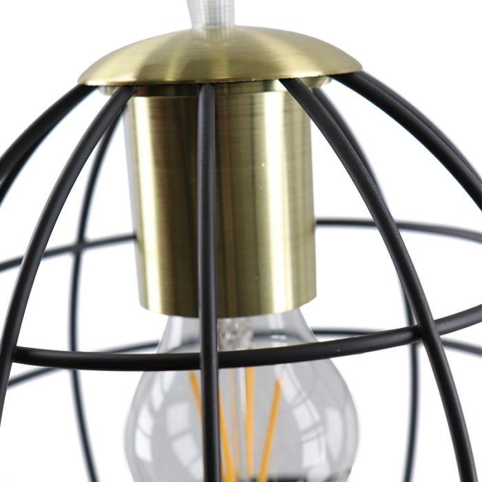 Industriële zwart met gouden hanglamp Jochem Bolvormig