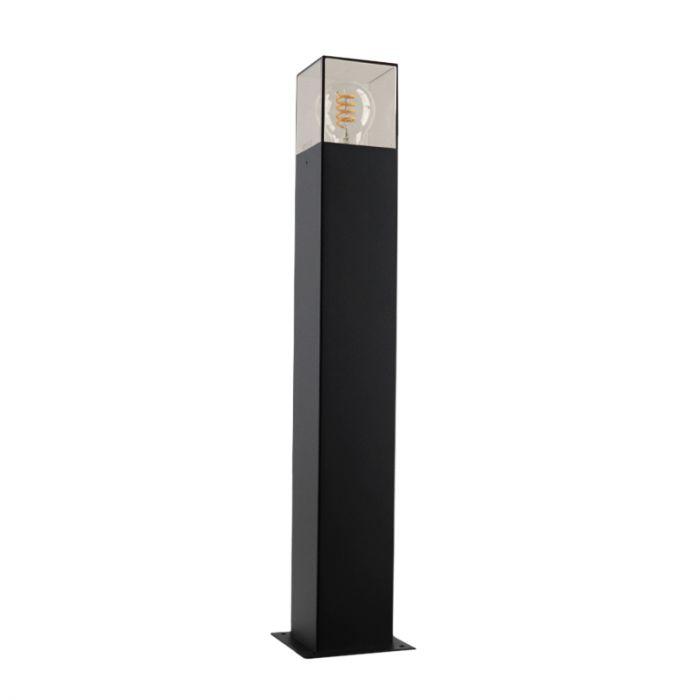 Zwarte staande buitenlamp Sanel, Smoke glas, 60cm