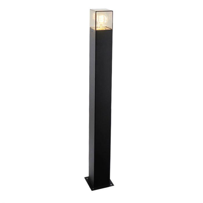 Zwarte staande buitenlamp Sanel, Smoke glas, 90cm