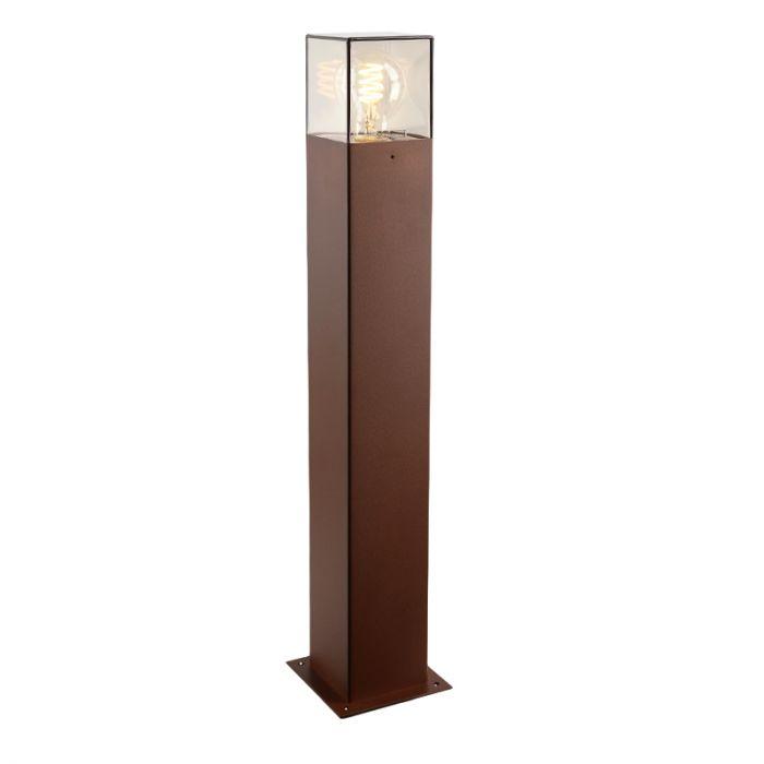 Roestkleur staande buitenlamp Sanel, Smoke glas, 60cm