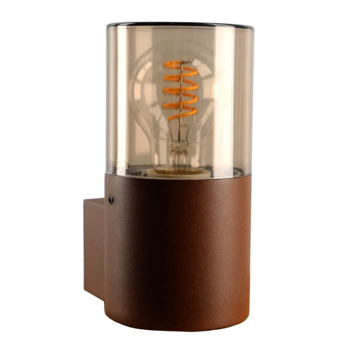 Roestkleur wandlamp Sanel, Smoke glas, IP44, cilinder