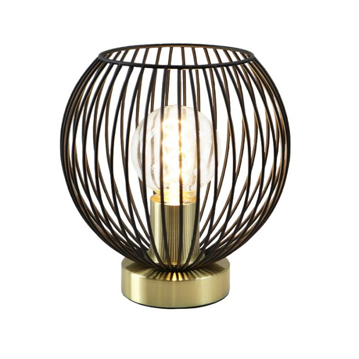 Zwart gouden tafellamp met aan/uit schakelaar Wiro 20 cm, Rond