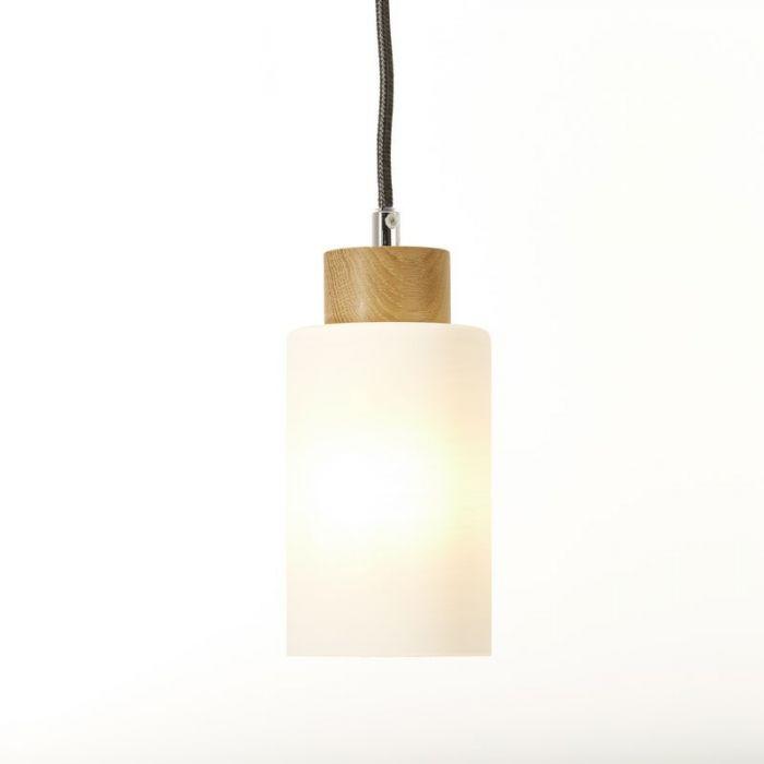 Landelijke, Moderne Hanglamp Jetta - Eik, Wit