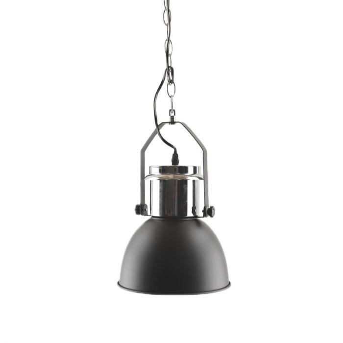 Industriële, Brocante Hanglamp Jezze - Zwart, Chroom