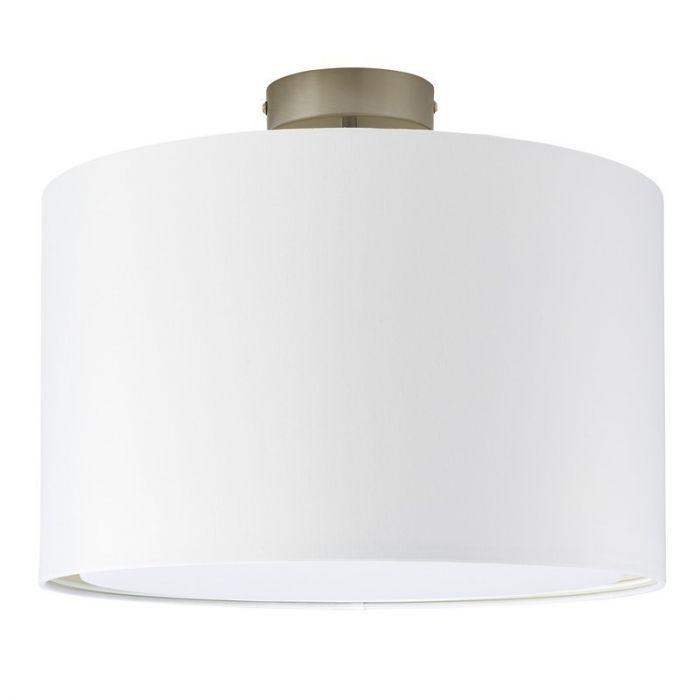 Witte, stoffen plafondlamp Bendert