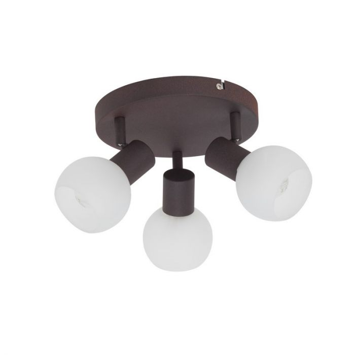 Ronde, Bruine plafondlamp Bertus, Glas
