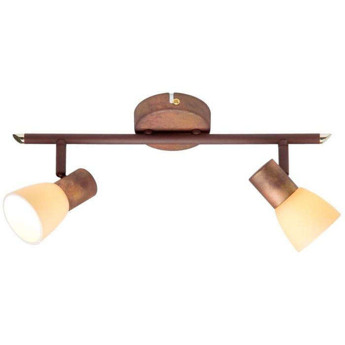 Bruine plafondlamp Loet, Crème glas