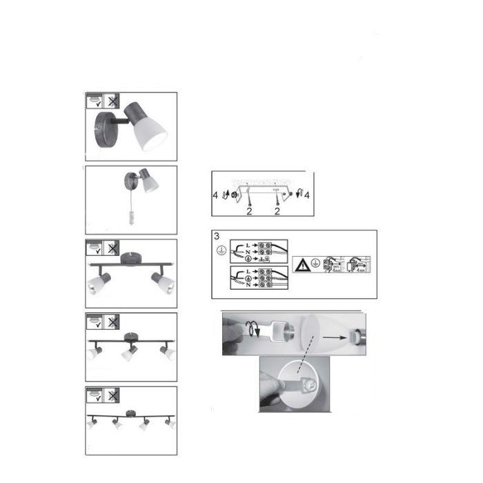 Flexibel draaibare plafondlamp Loet, Chroom
