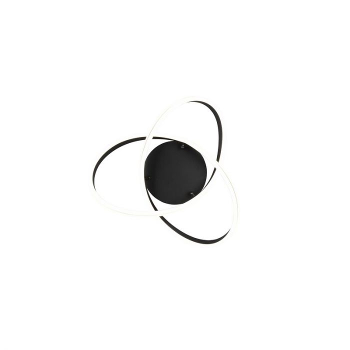 Moderne plafonniere Elyse, zwart, metaal, geïntegreerde LED