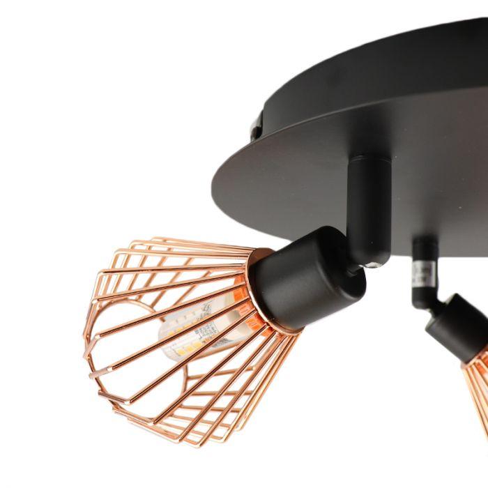 Landelijke Plafondlamp Jahleya - Zwart, Koper