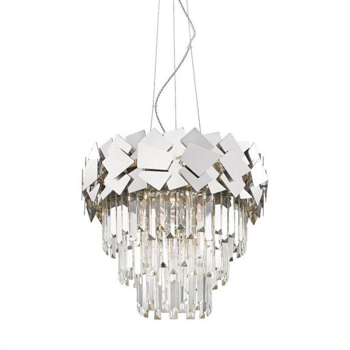 Design Kroonluchter Cyrille, zilver, glas